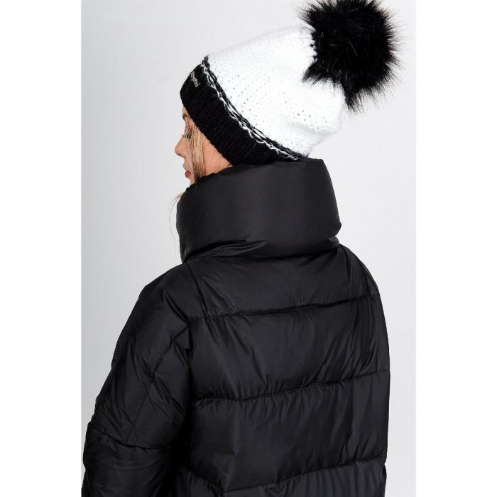 Divu krāsu cepure ar bumbuli (15% vilna) melnbalta