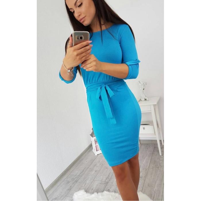 Midi garuma kleita ar sējumu viduklī - koši zila
