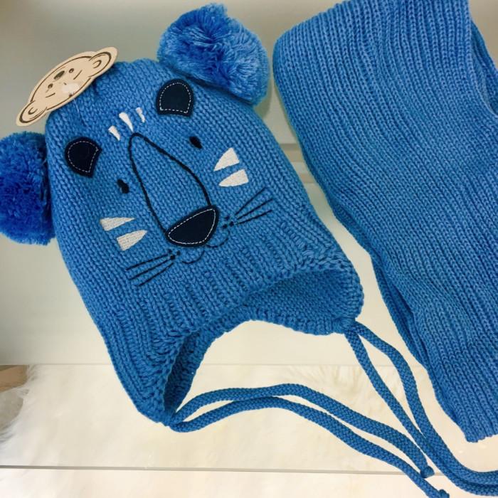 Cepure ar diviem bumbuļiem un šalle - zila (2-3 gadi)
