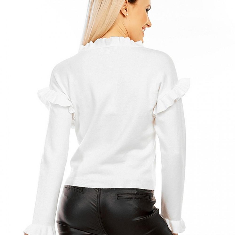 Džemperis ar volāniem (sastāvā ir vilna, kašmirs) - balts