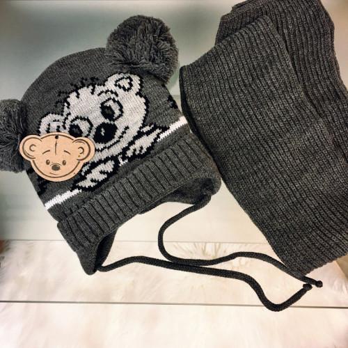 Cepure ar diviem bumbuļiem + šallīte (3-5 gadi)