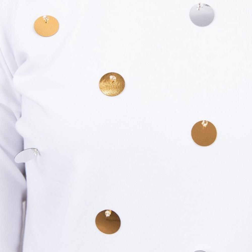 Krekliņš ar dekoru priekšpusē - balts