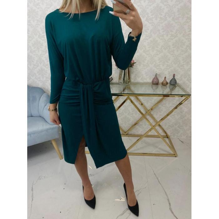 Tumši zaļa kleita ar garām piedurknēm