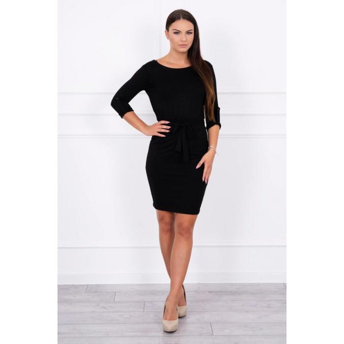 Midi garuma kleita ar sējumu viduklī - melna