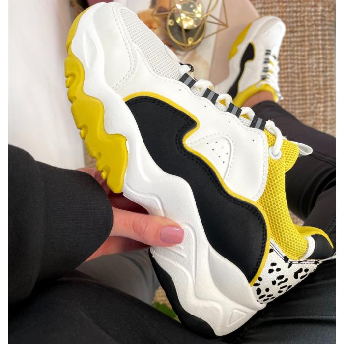 Platformas sporta apavi ar sinepju krāsas akcentiem