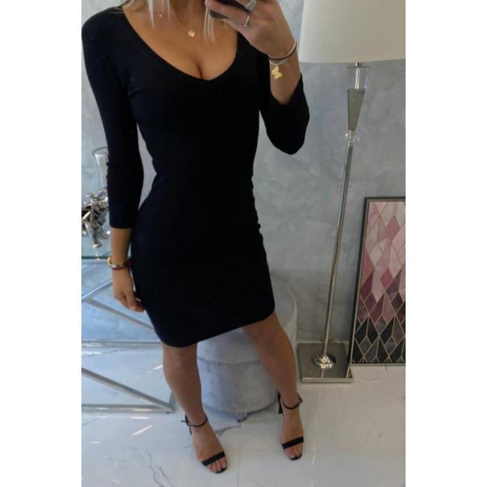 Augumu pieguļoša rievota kleita ar piedurknēm 3/4 - melna