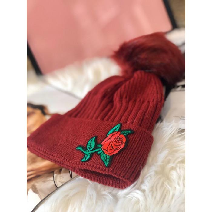Cepure ar aplikāciju - bordo