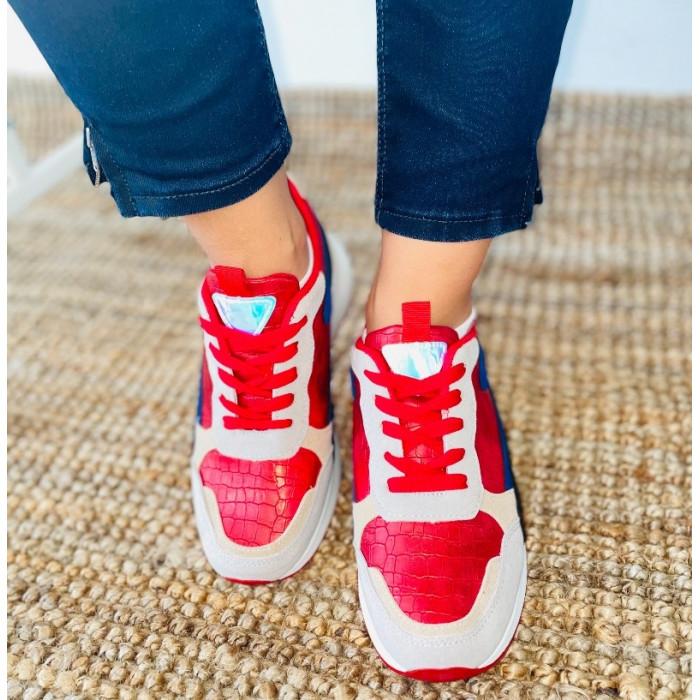 Sarkani sporta apavi ar krāsainiem akcentiem