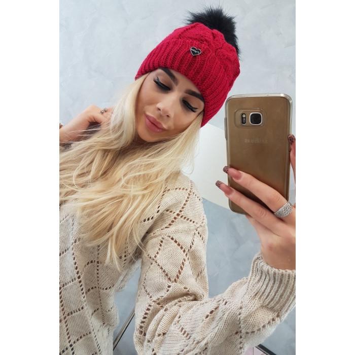 Cepure ar bumbuli - sarkana