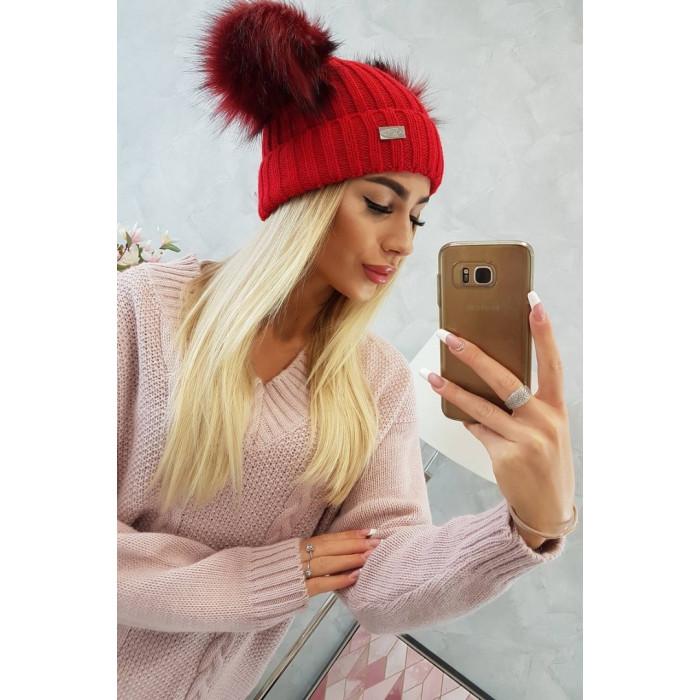 Cepure ar diviem bumbuļiem - sarkana