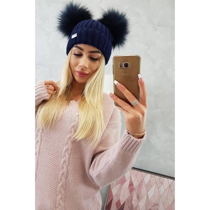 Cepure ar diviem bumbuļiem - zila