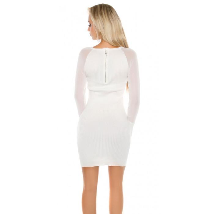 Adīta kleita ar šifona piedurknēm - balta