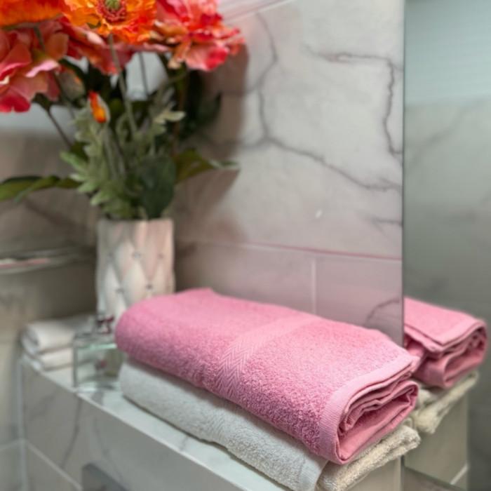 Kokvilnas dvieļi 2 gab. 70 x 140 cm rozā / balts