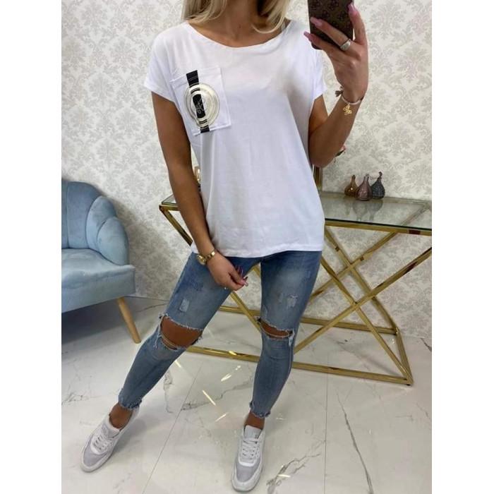 Balts t-krekls ar dekoru