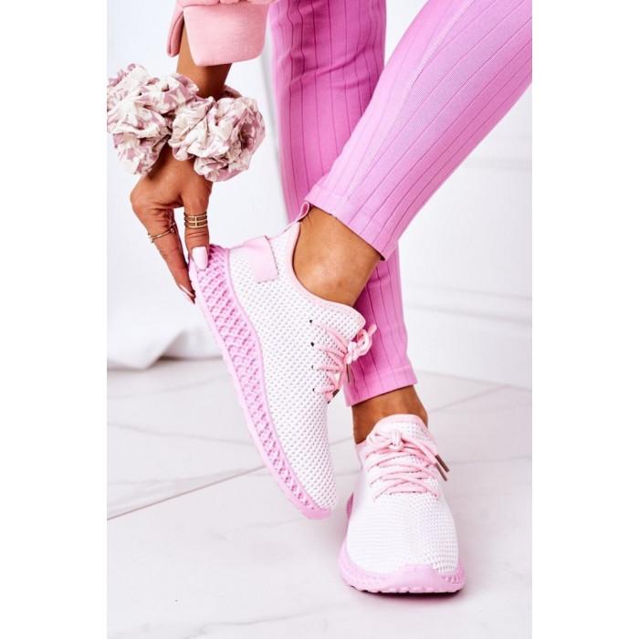 Rozā tekstila sporta apavi