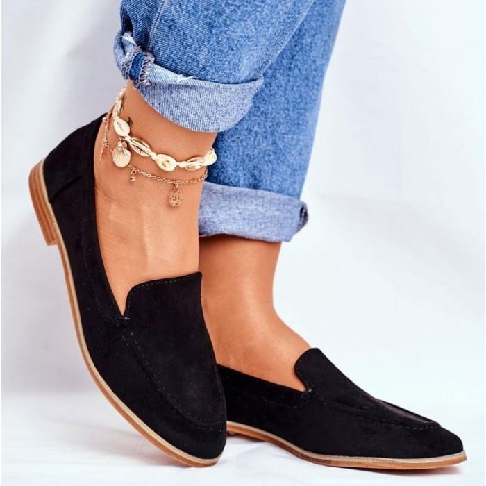 Melnas zamšādas kurpes ar brūnu zoli