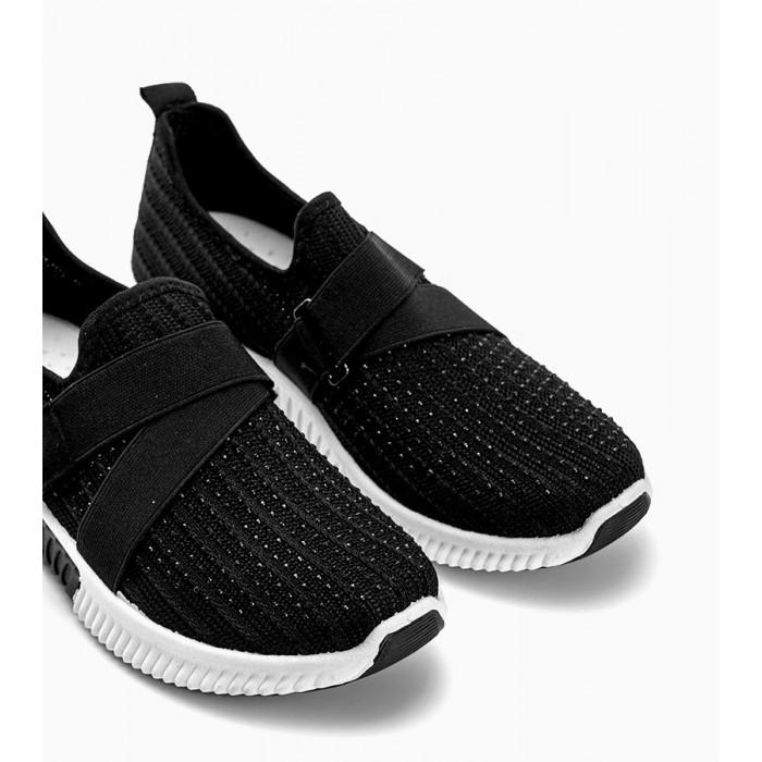 Melnbalti tekstila sporta apavi ar akmentiņiem