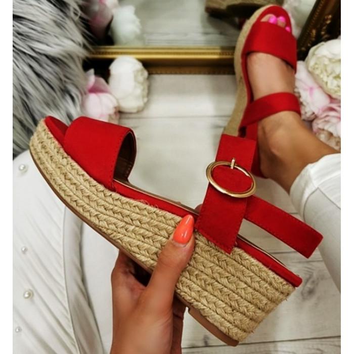 Sarkanas platformas sandales