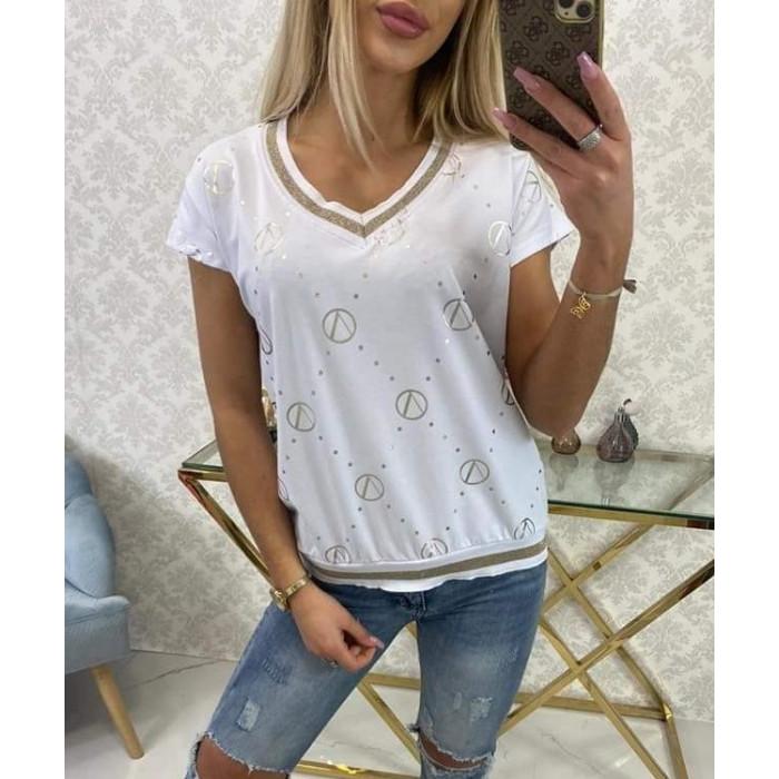 T-krekls ar zeltītu rakstu - balts