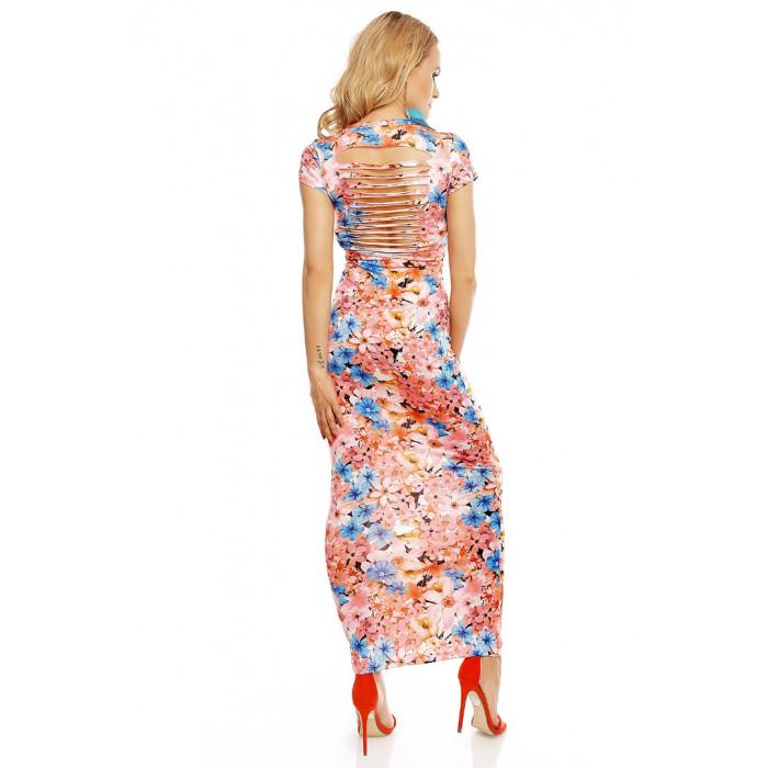 Gara kleita ar ziedu rakstu