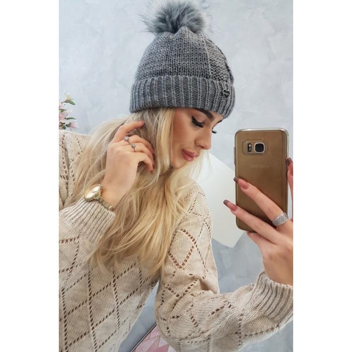Cepure ar bumbuli - pelēka
