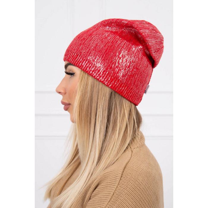 Cepure ar spīdumu - sarkana