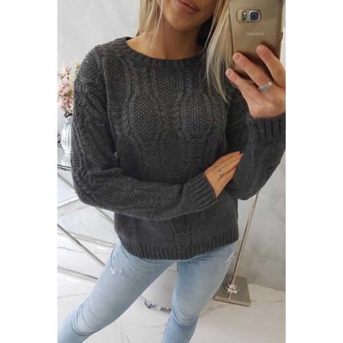 Džemperis ar skaistu adījuma rakstu - tumši pelēks