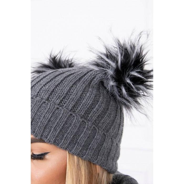 Cepure ar diviem bumbuļiem - pelēka