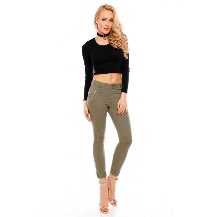 Haki krāsas džinsa bikses