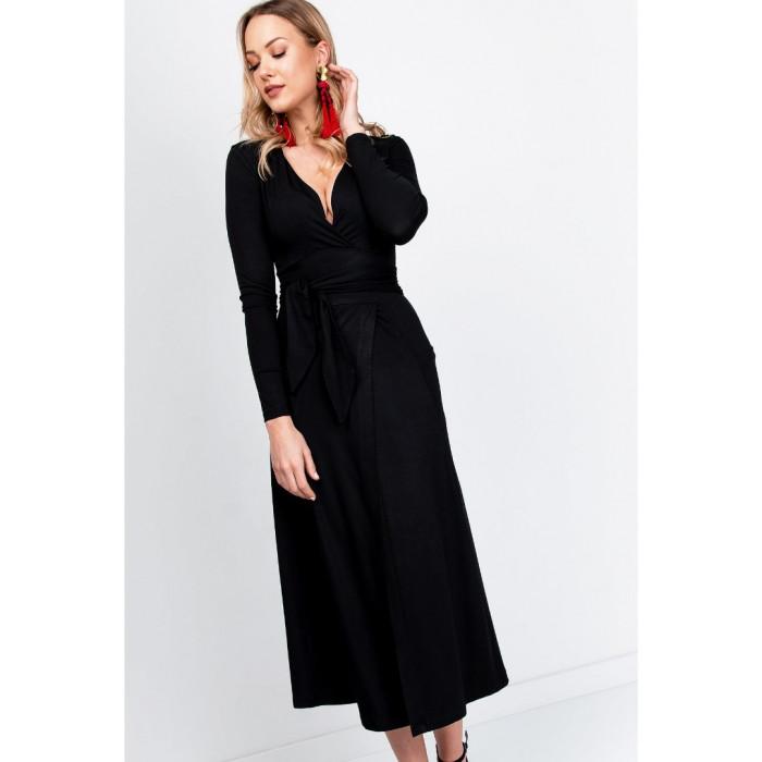 Gara kleita ar sējumu viduklī - melna